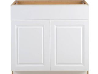 Hampton Bay Benton Assembled 36x34 5x24 5 in  Base Cabinet with Soft Close Full Extension Drawer in White