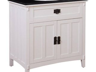 Home Decorators Collection Artisan   33 in  W Vanity in White with Marble Vanity Top in Natural Black with White Sink