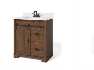 Brindley 30in  W x 21in  D Barn Door Bath Vanity in Dark Walnut w  Engineered Carrera Vanity Top in White w  White Basin