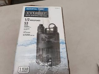 Everbilt Pump Waterfall Submersible Thermoplastic Threaded Male Durable 4 10 Hp USED