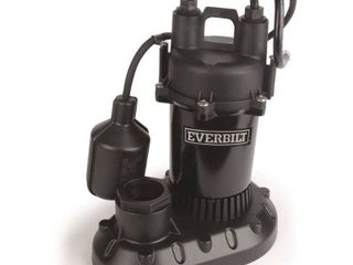 Everbilt 1 2 HP Submersible Aluminum Sump Pump with Tethered Switch USED