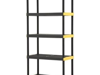 18 in  x 36 in  x 74 in  Black and Yellow Plastic Ventilated 5 Tier Garage Shelving Unit