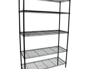 HDX 36 in  W x 16 in  D x 72 in  H Black 5 Shelf Wire Storage Unit