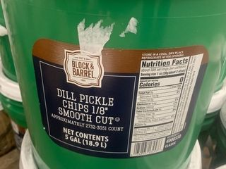5 gallon bucket of pickle slices great for hamburgers and sandwiches
