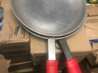 Two large saute pans with brand new insulated handles