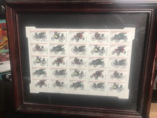 25 framed  32 antique automotive stamps Do use our actual stamps