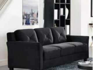 lifestyle solutions hartford kd sofa microfiber grade 26 black with curved arm   Not Inspected