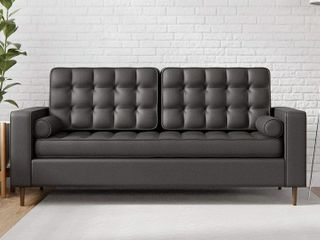 Edenbrook lynnwood Upholstered Sofa with Square Arms and Tufting Bolster Throw Pillows Included  Faux Black