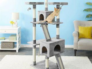 Faux Fur Cat Tree   Condo  Gray MPJ30W