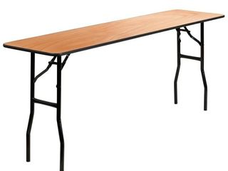 FlashFurniture YT WTFT18X72 TBl GG 18 Inch x 72 Inch Rectangular Wood Folding Training Seminar Table with Smooth Clear Coated Finished Top