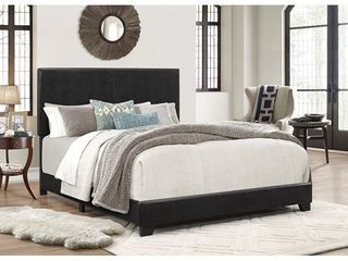 Crown Mark Erin Faux leather Bed  Black  Queen