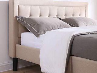 Classic Brands Mornington Upholstered Platform Bed Headboard and Metal Frame with Wood Slat Support  King  linen