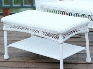 Jeco Wicker Patio Furniture loveseat and Coffee Table in White