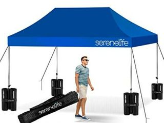 Pop Up Canopy Tent 10x15   Commercial Instant Shelter Foldable Collapsible Sun Shade Canopy Pop Up Tent w Waterproof UV Resistant Top  Portable Carry Bag   Serenelife SlGZ15BU