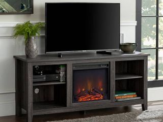 58  Rustic Farmhouse Fireplace TV Stand in Charcoal
