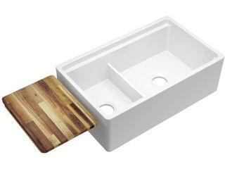 Elkay Fireclay 33  x 20  x 10 1 8  60 40 Double Bowl Farmhouse Sink White Divide White