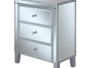 Convenience Concepts Gold Coast large 3 Drawer Mirrored End Table DAMAGED