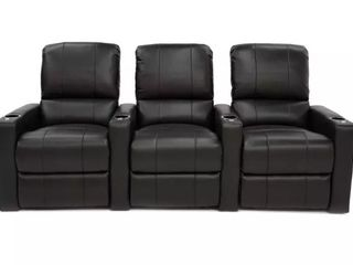 Octane Charger Row of Three theater Seats  Black leather