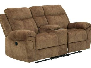 Signature Design By Ashley Huddle up Reclining loveseat With Console In Nutmeg