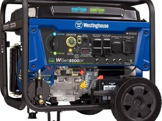 Westinghouse WGen9500DF Dual Fuel Portable Generator   9500 Rated Watts   12500 Peak Watts   Gas or Propane Powered   Electric Start   Transfer Switch   RV Ready   CARB Compliant