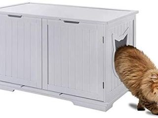 Sweet Barks X large Designer Cat Washroom Storage Bench Cat litter Box Enclosure Furniture Box House with Table  White