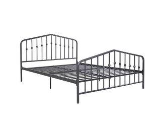The Novogratz Modern Farmhouse Bushwick Metal Bed  Gray  King