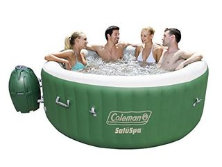 Coleman SaluSpa Inflatable Hot Tub   Portable Hot Tub W  Heated Water System   Bubble Jets   Relieves Stress  Muscle    Joint Pain   Fitsup to 6 People APPEARS TO BE USED