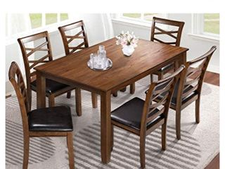 7 Piece Dining Table Set  Modern Solid Wood Kitchen Furniture W  6 Chairs  leather Cushions