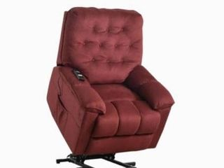 Power lift Chair Soft Fabric Upholstery Recliner W  Remote in Dark Red