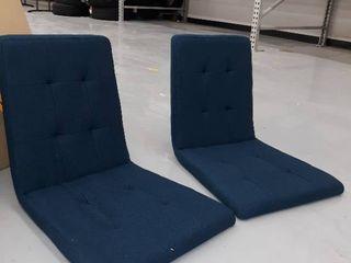 2  Dining Chairs  Fabric   Safari Blue w  light Walnut legs