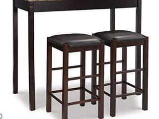 linon Brown 3 Piece Table Faux Marble Tavern Set  42  w x 22 25  d x 36  h