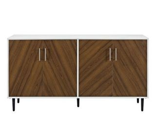 58  Modern Bookmatch Buffet TV Stand   White and Teak   Not Inspected