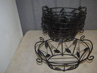 6 Metal Baskets 12  x 9  x 5
