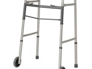 Guardian Easy Care 2 Button Folding Walker with 5  Wheels