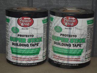2 Rolls Protecto Wrap Super Stick Building Tape