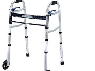 Health line Massage Products Compact Trigger Release 350 lbs Folding Walker with 5 inch Wheels and Fold up legs  lightweight   Portable with 2 Pairs of Glides