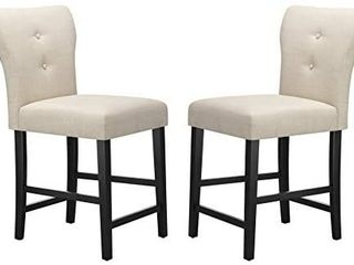 Amazon Brand a Ravenna Home Modern Counter Height Stool with Back  Set of 2  38 25 H  Beige