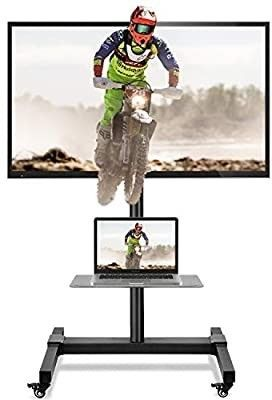 5Rcom Mobile TV Cart large Rolling TV Stand with Wheels Height Adjustable for 32 37 40 47 50 55 60 65 70 Inch Flat Screen Curved TVs Monitors Portable TV Floor Stand with laptop Shelf Display Trolley