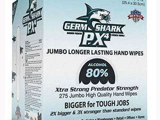 Germ Shark PX4 Sanitizing Wipes   80  Alcohol Wipes for Hand Sanitizing   1 Roll Jumbo Size  10x12a    275 Bulk Pack Hand Sanitizer Wipes   Made in USA w Ethyl Alcohol