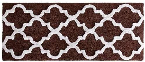 lavish Home 100  Cotton Trellis Bathroom Mat  24x60 inches   Chocolate