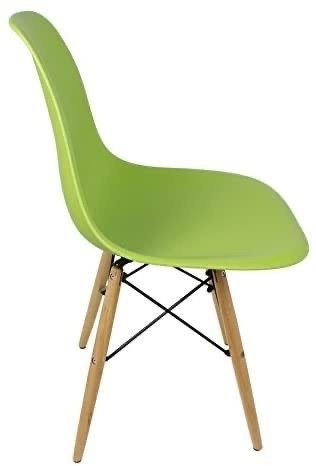 DSW lime Green Plastic Shell Chair with Wood Eiffel legs Set of 2