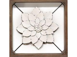 15 75  Framed Metal Flower White   Stratton Home Decor