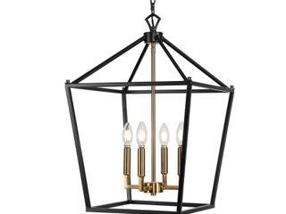 JONATHAN Y Pagoda 16 in  4 Bulb Oil Rubbed Bronze Brass Gold lantern Metal lED Pendant