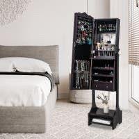 Full Mirror Floor Standing Jewelry Storage Adjustable Mirror Cabinet   4layers