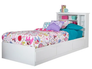 South Shore Vito Twin Storage Bed and Bookcase Headboard Set  Retail 464 99