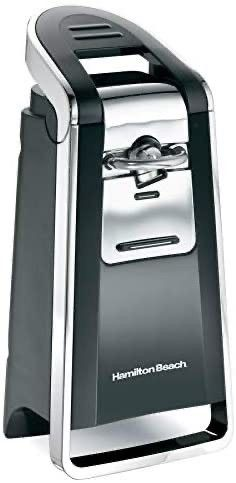 Hamilton Beach  76606ZA  Smooth Touch Electric Automatic Can Opener with Easy Push Down lever  Opens All Standard Size and Pop Top Cans  Extra Tall  Black and Chrome