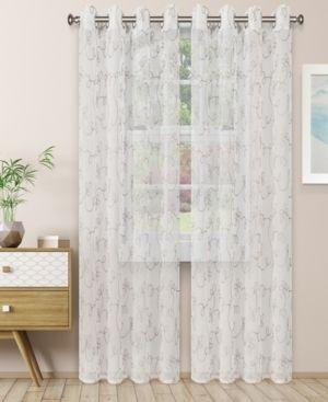 Superior lightweight Scroll Sheer Curtain Panels  2    Grey