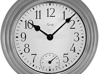 Wall Clock Thermometer Humidity With Glass lens Metal Hands For Outdoor Silver