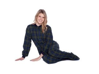 Navy Blue   Green Plaid Cotton Flannel Adult Footed Pajamas Sleeper Sleeper
