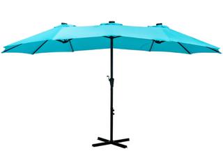 Ainfox 15ft Double Sided Patio Solar led lighted Market Umbrella   149 99 Retail